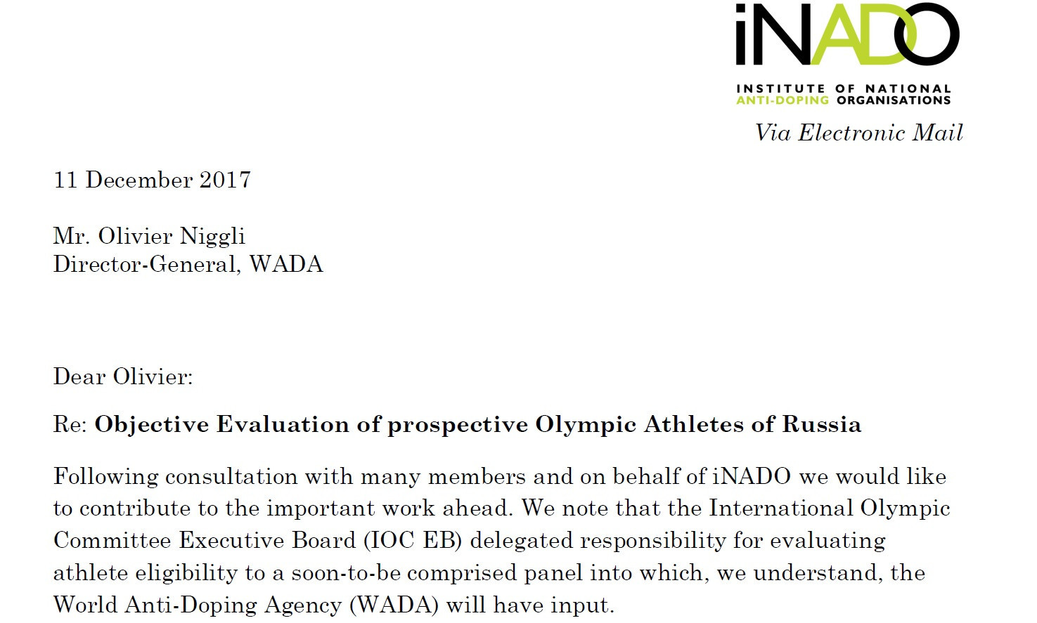 The iNADO wrote a letter to WADA regarding the criteria for Russian athletes at Pyeongchang 2018 last month ©iNADO