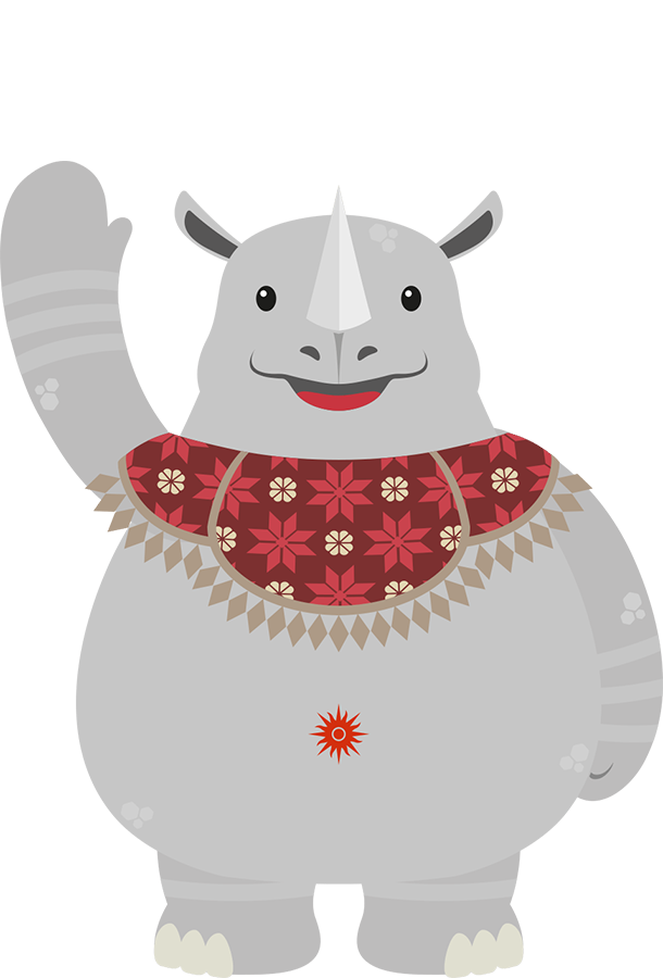 Kaka is a single-horned rhinoceros that represents strength and the west of Indonesia.  Kaka's clothing of choice is Palembang's traditional attire with a flower pattern.