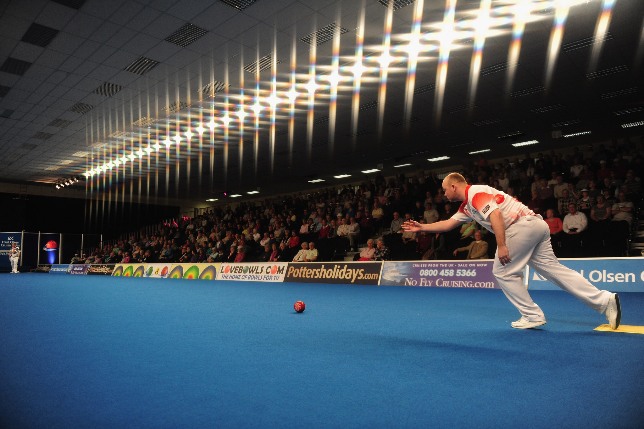 Stewart Anderson of Scotland, pictured, and Guernsey's Alison Merrien beat Australia's Ellen Ryan and England's Robert Paxton at the World Indoor Bowls Championships 