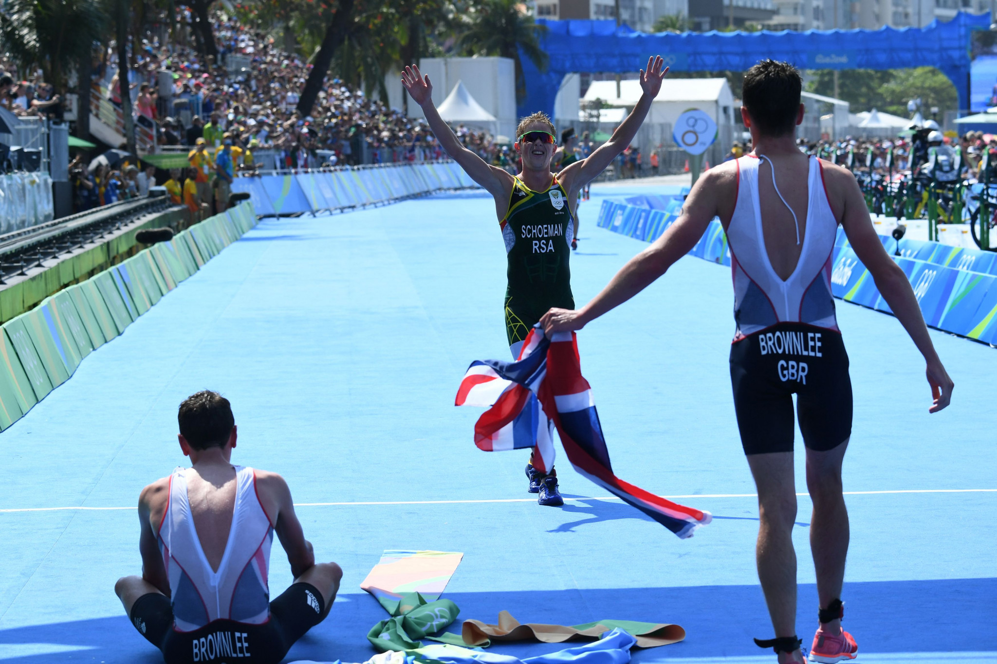 Henri Schoeman crosses the line in third place at Rio 2016 ©Getty Images