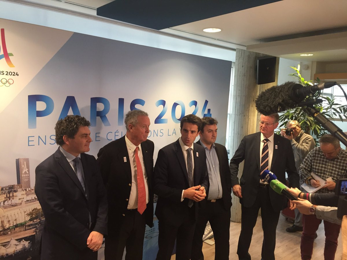 The new Paris 2024 Organising Committee, led by Tony Estanguet, centre, will be officially launched tomorrow ©Twitter