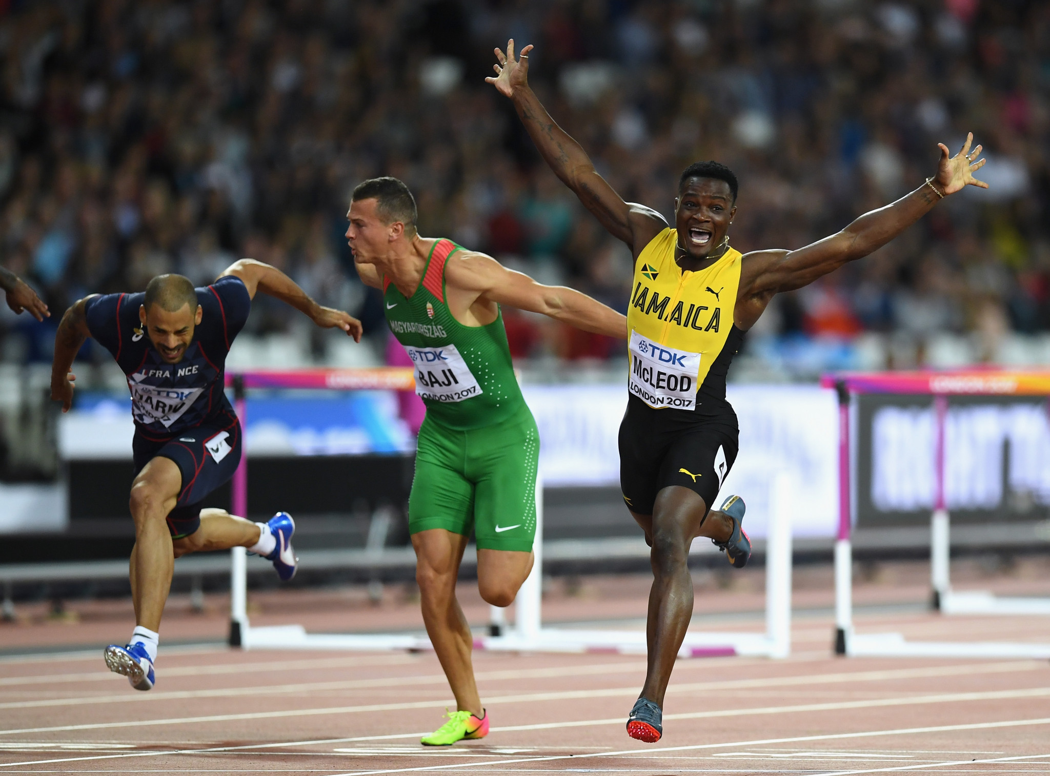 Jamaica's Omar McLeod added the IAAF World Championships 110 metres hurdles title to his Olympic gold medal in London last year but looks unlikely to compete in the Commonwealth Games ©Getty Images