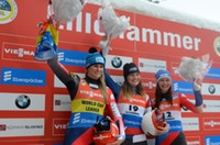 US Luger Summer Britcher celebrates victory at the Lillehammer World Cup event ©FIL