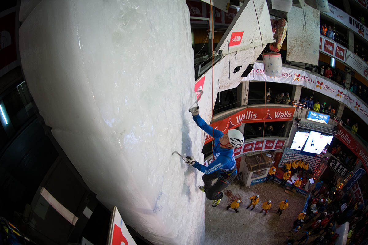 Action at the UIAA Ice Climbing World Cup event at Saas-Fee in Switzerland ©UIAA