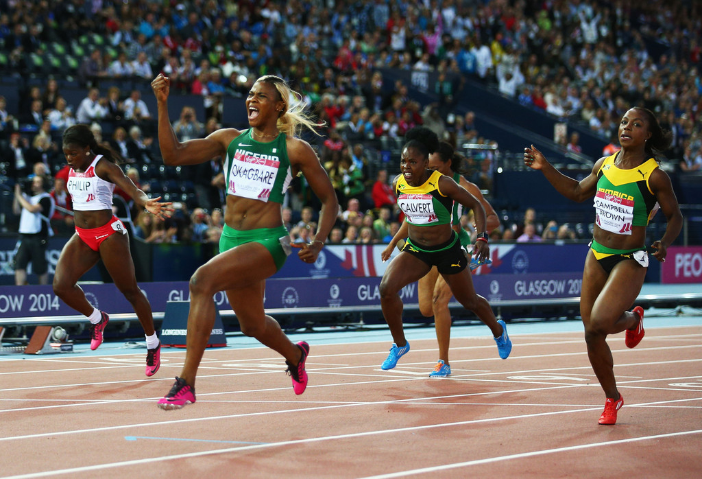 Blessing Okagbare won two of Nigeria's 11 Commonwealth Games gold medals at Glasgow 2014 ©Getty Images