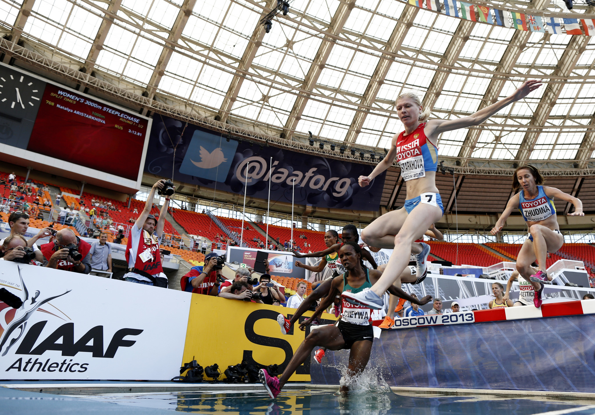 Middle-distance runner Natalya Aristarkhova, pictured here at the 2013 IAAF World Championships, is rumoured to be one of the 36 athletes who left the event in Irkutsk following the arrival of anti-doping officials ©Getty Images