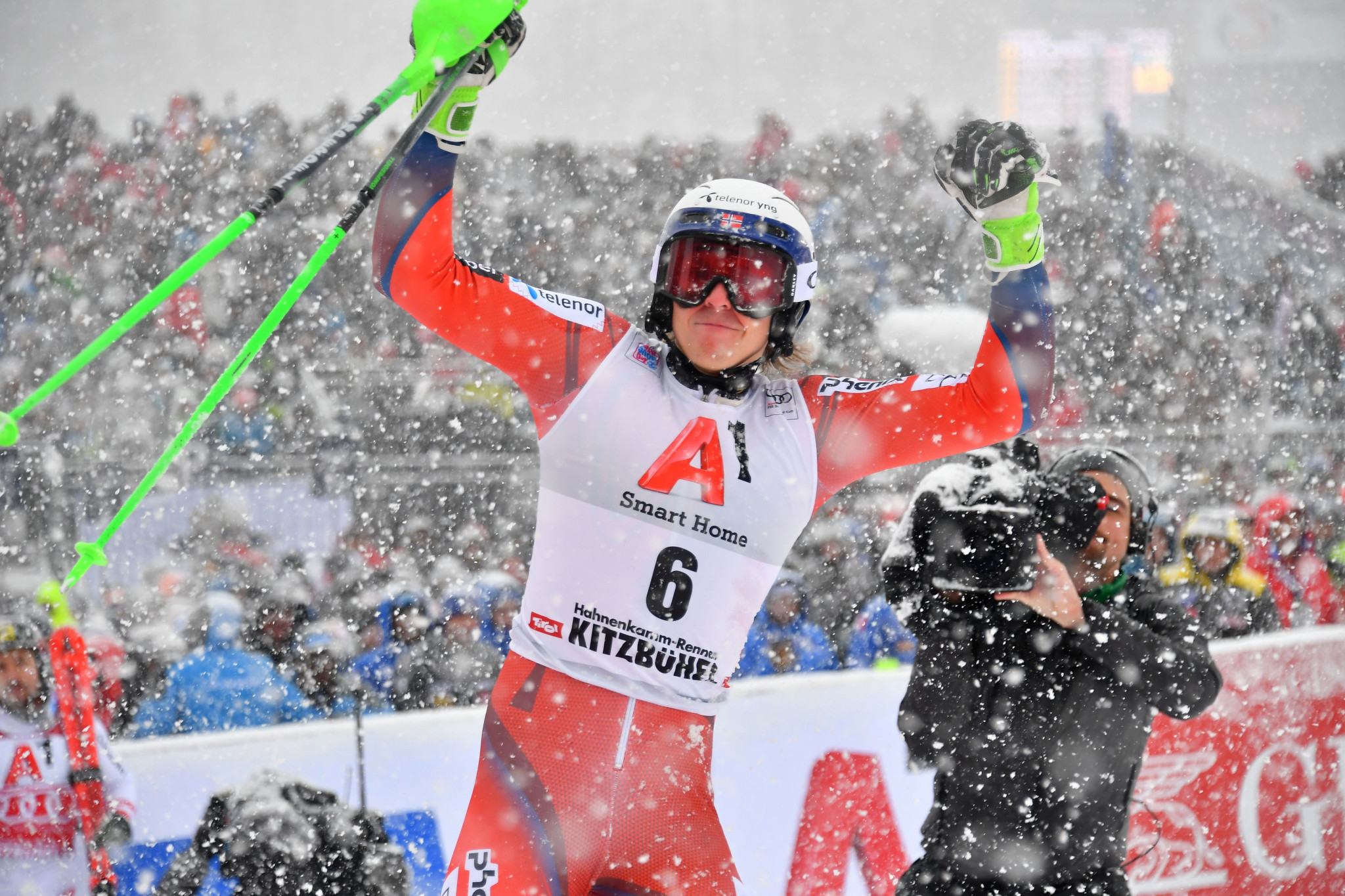 Kristoffersen shocks Hirscher to claim first slalom title of the season at FIS Alpine Skiing World Cup in Kitzbühel