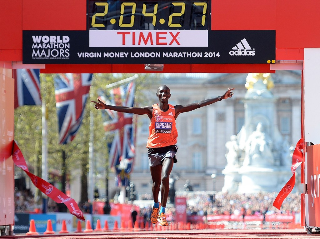 Kenyan defending champion Wilson Kipsang says his focus is not on setting a world record on Sunday ©Getty Images