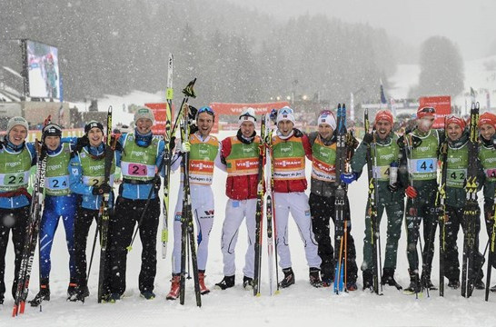 Norway, centre, celebrate an outstanding team win in the FIS Nordic Combined World Cup in Chaux-Neuve ©FIS