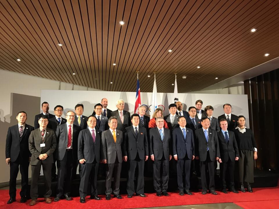 A group shot of everybody involved in the Pan-Korean discussions at the Olympic Museum in Lausanne ©ITG