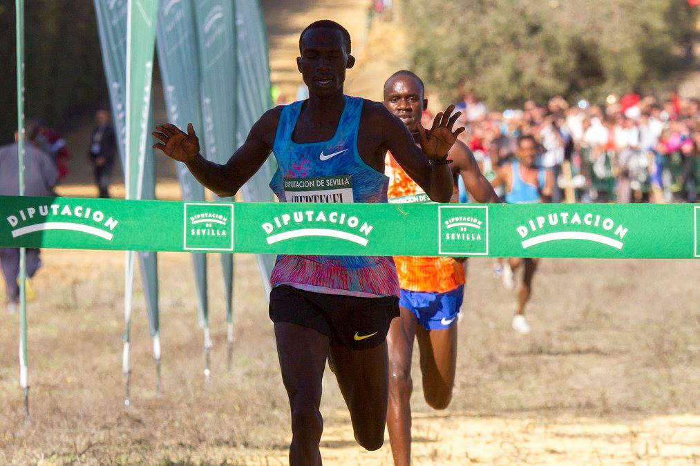 Joshua Cheptegei of Uganda, surprise world 10,000m silver medallist last summer, produced another upset in the IAAF Cross Country Permit race at Seville today ©Twitter
