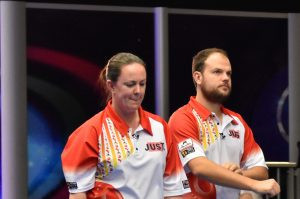 Lesley Doig and Jamie Chestney earned a place in the mixed doubles final at the World Indoor Bowls Championships ©WorldBowlsTour
