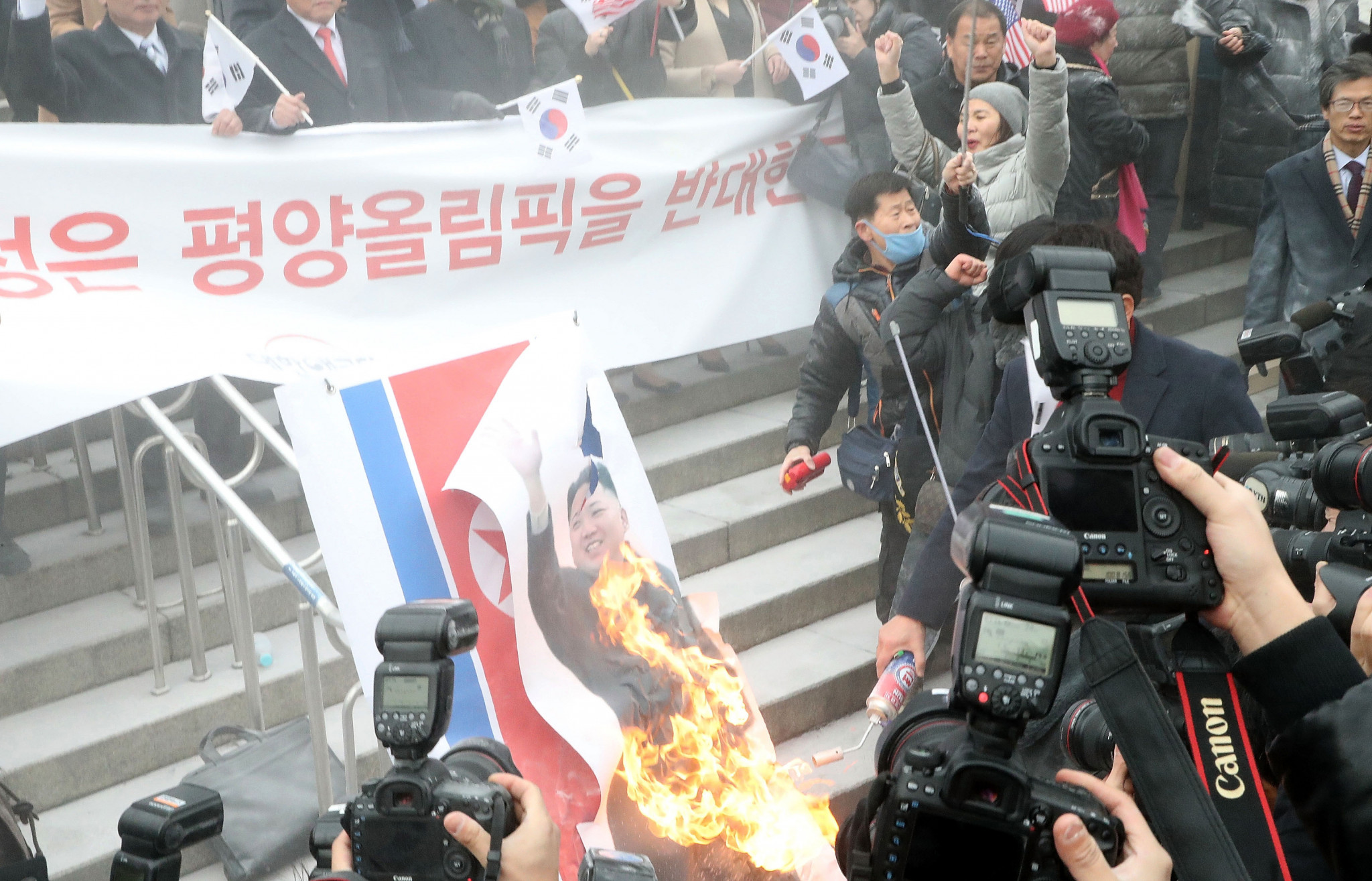 Small protests against North Korea took place in Seoul ©Getty Images