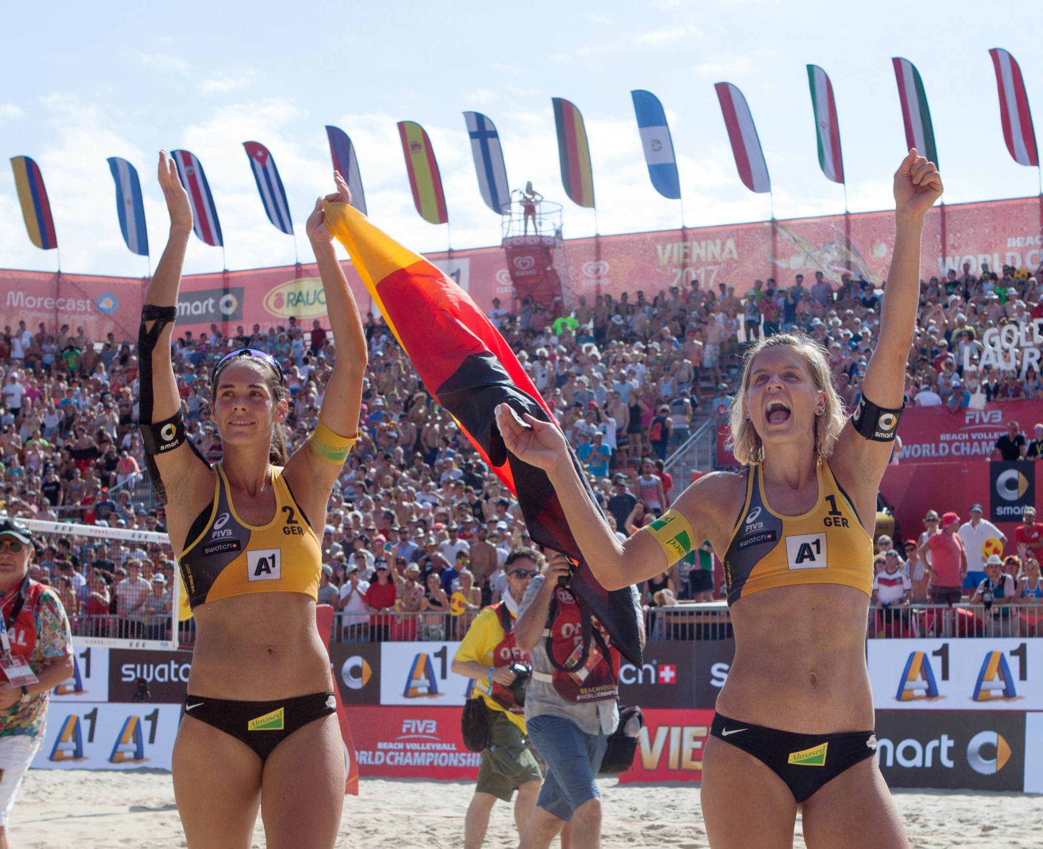 Laura Ludwig, left, and Kira Walkenhorst are at the forefront of German beach volleyball ©Getty Images
