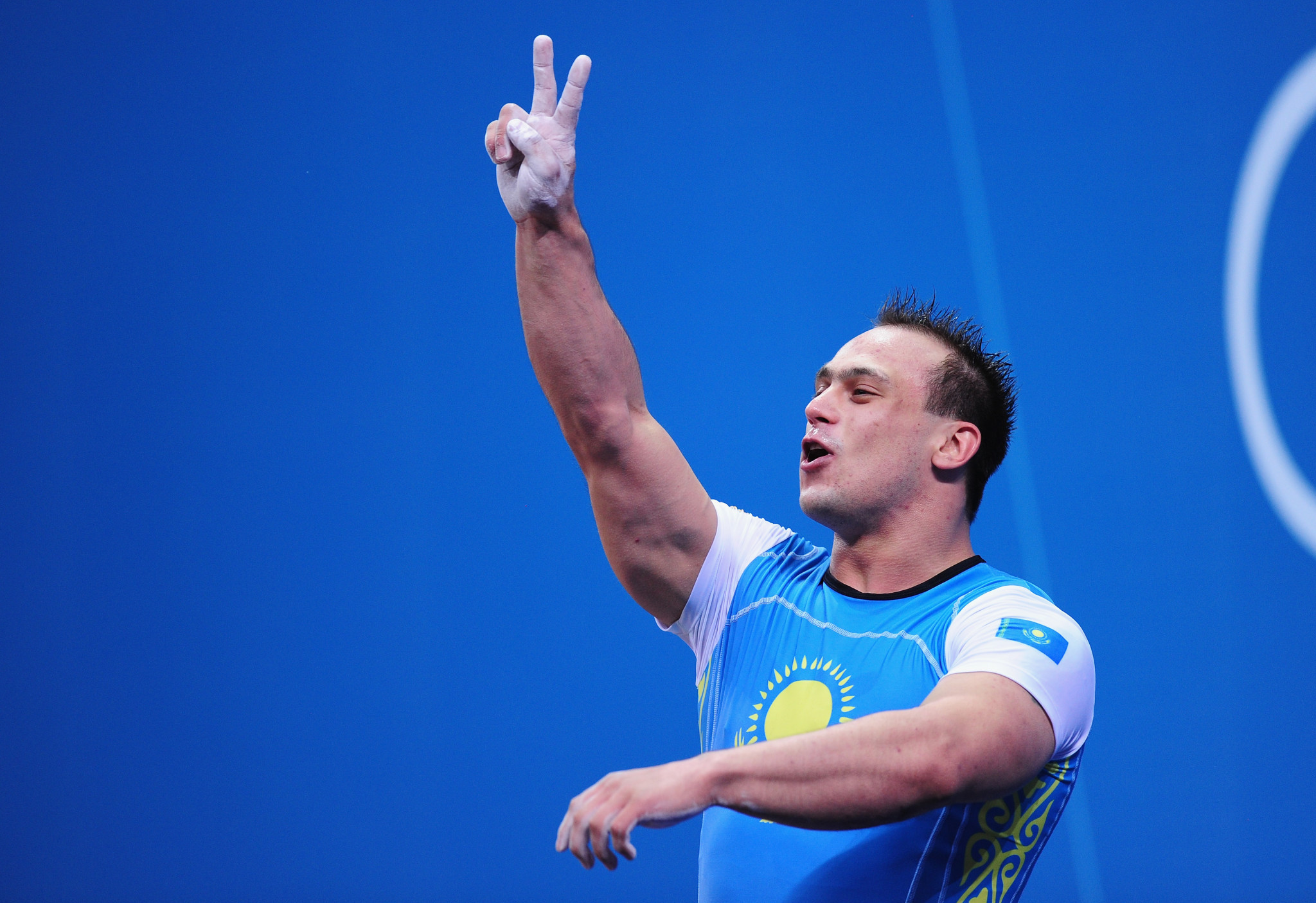 Ilya Ilyin celebrates his second successive Olympic gold medal at London 2012. He has now been stripped of both for doping ©Getty Images