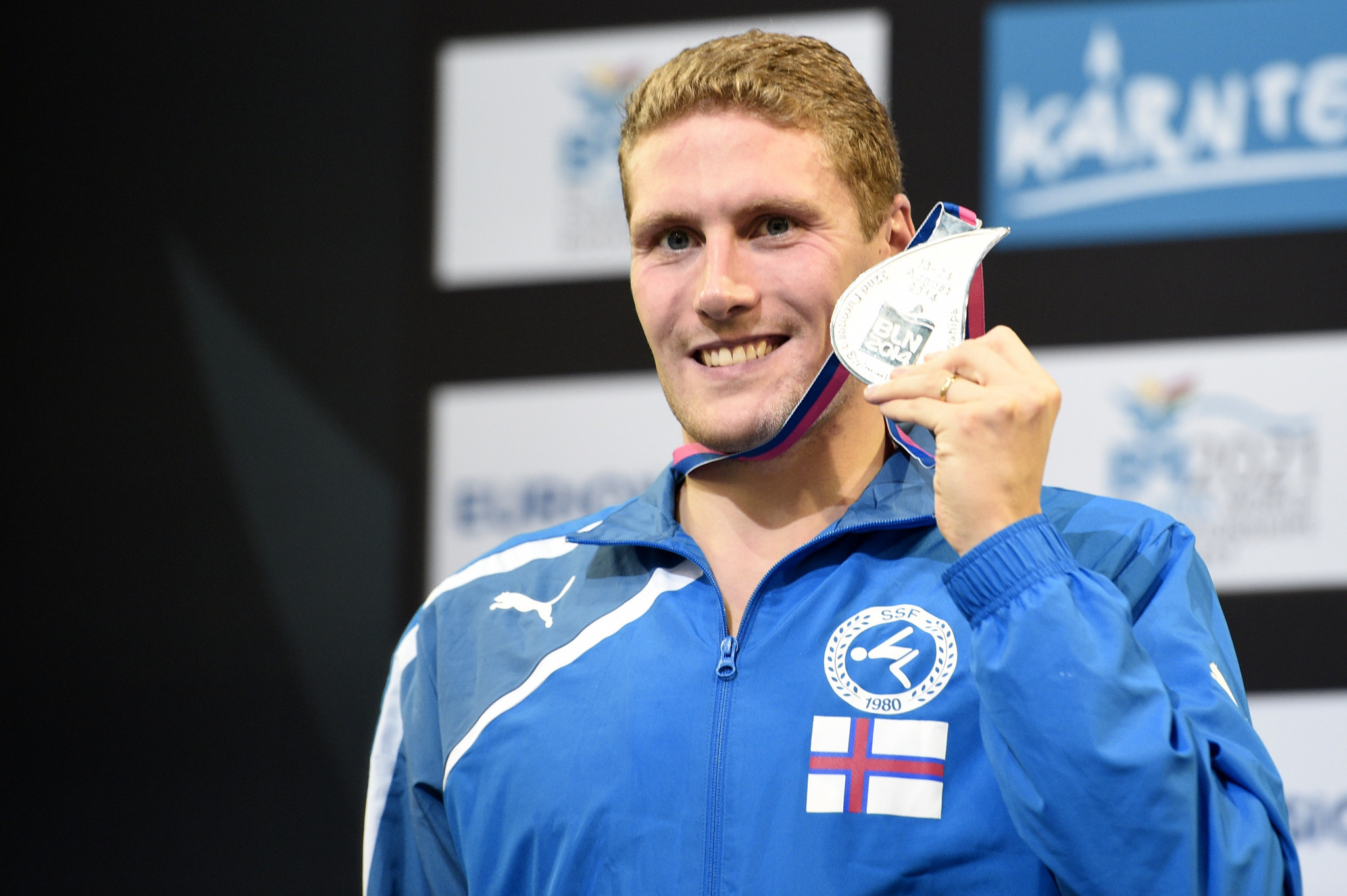 Swimmer Pál Joensen is one of the leading athletes from the Faroe Islands, but competed for Denmark at the Olympic Games ©Getty Images