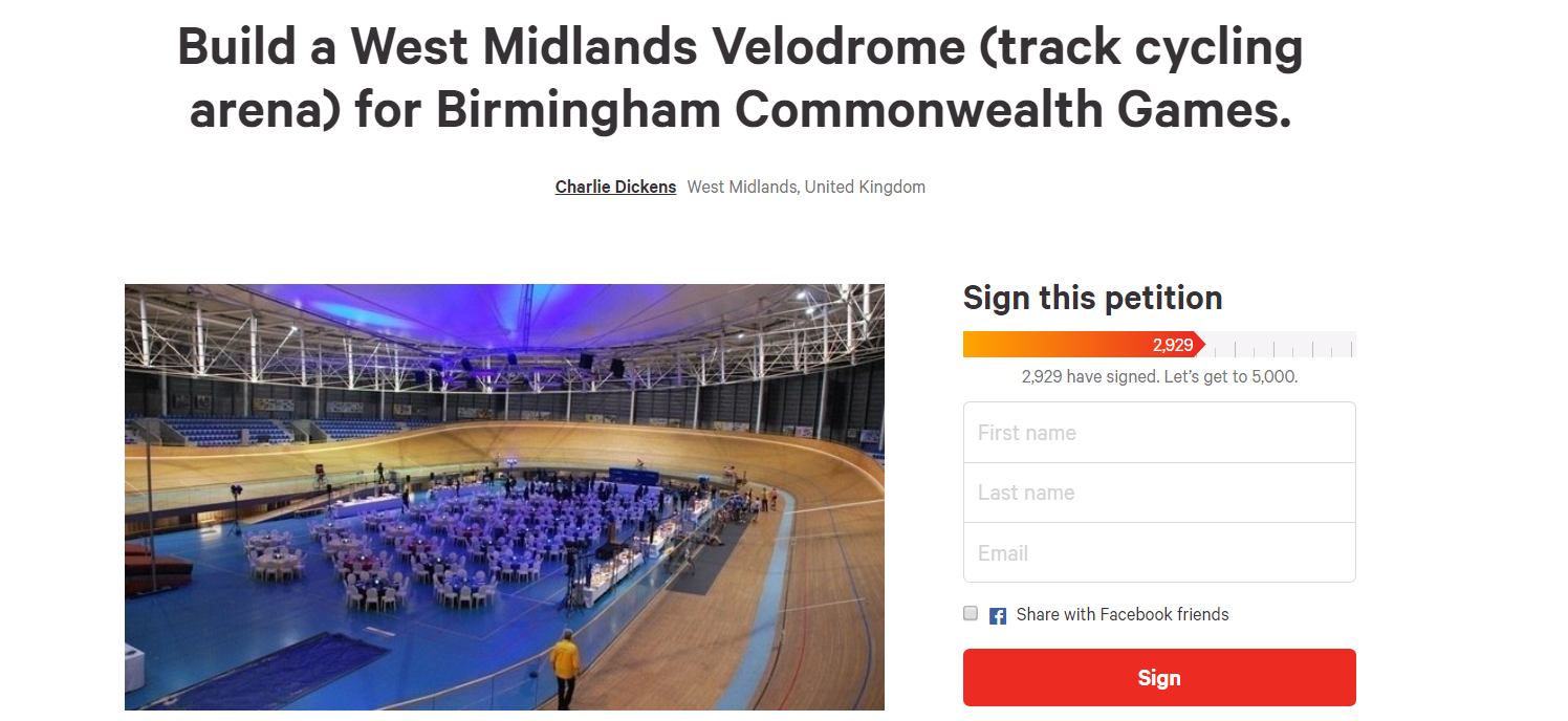A petition has been set up to call for a velodrome to be constructed for Birmingham 2022 ©change.org