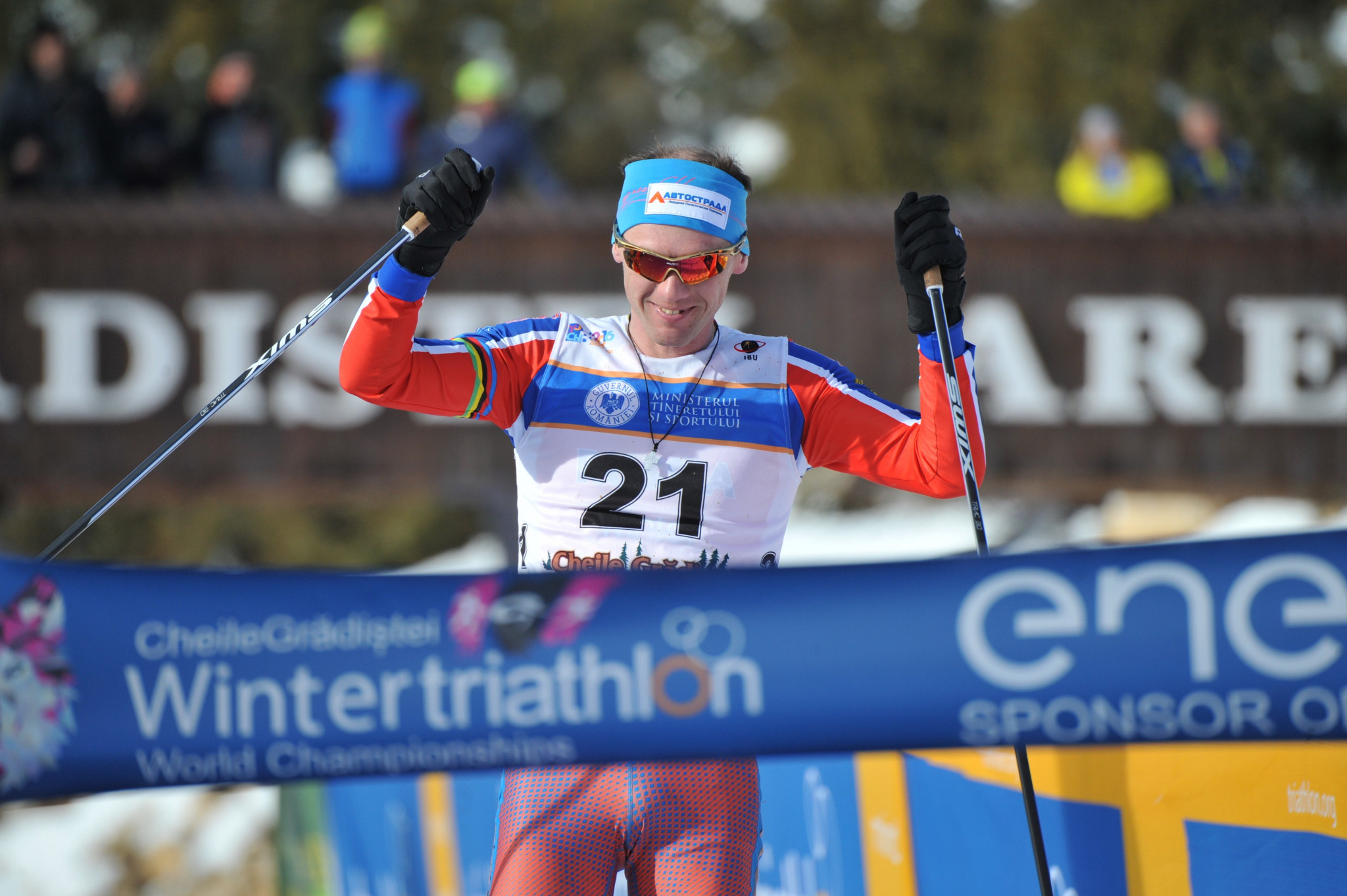 Russia's Pavel Andreev won the Winter Triathlon World Championships for a sixth time ©ITU