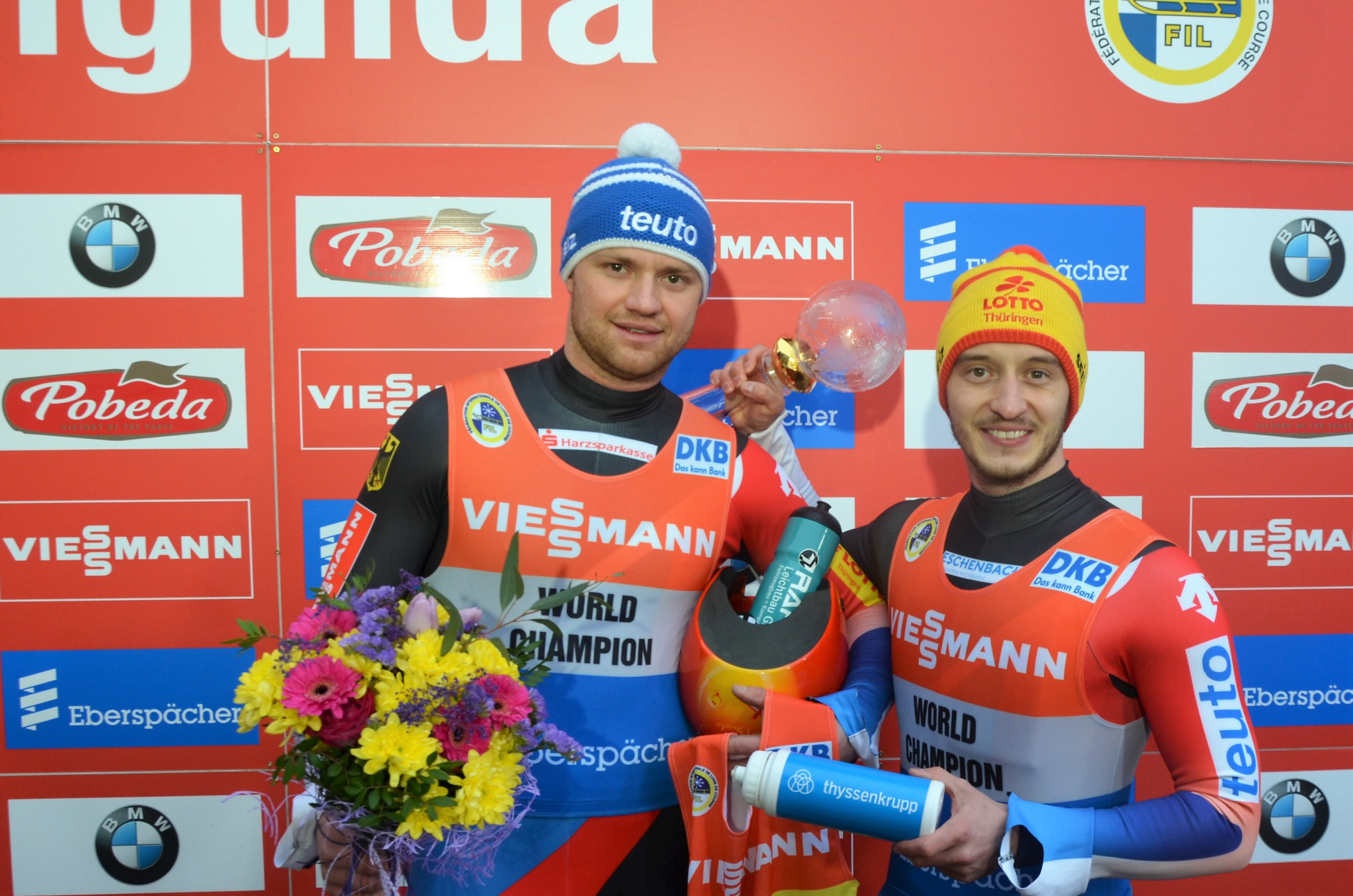 World champions Toni Eggert and Sascha Benecken enjoyed double success at the event in Sigulda as they clinched the European Championships gold medal and wrapped up the overall World Cup title ©FIL