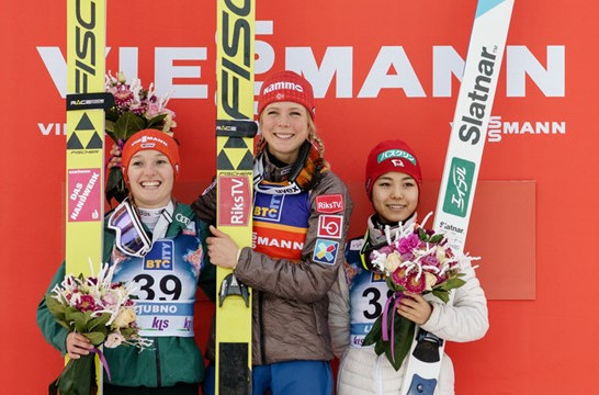 Norway's Maren Lundby won a sixth  successive title in the FIS Ski Jumping World Cup at Ljubno ©FIS