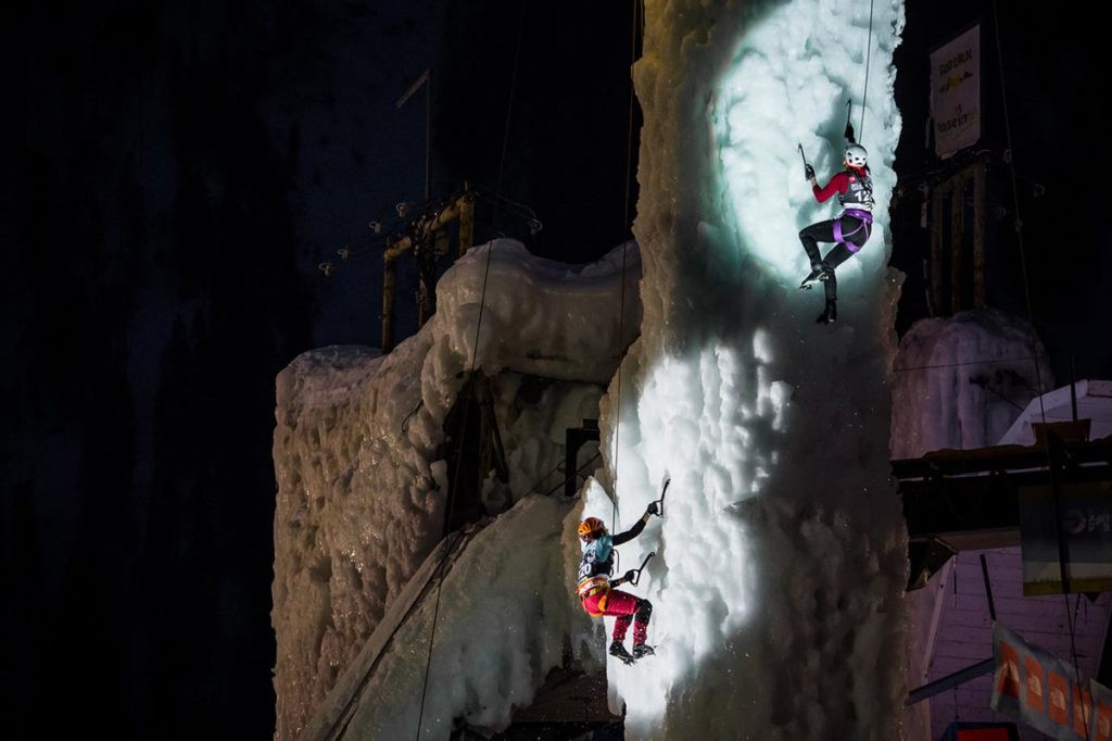 Women's speed climbers compete at Rabenstein - the Italian venue provided a hugely entertaining spectacle ©UIAA