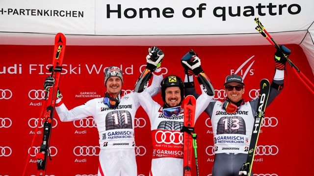 Marel Hirscher celebrates his 55th FIS Alpine World Cup title in Garmisch-Partenkirchen ©FIS