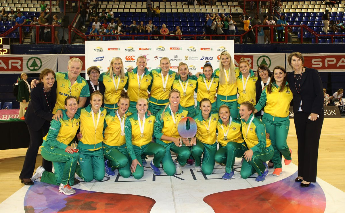 Australia celebrate winning the Quad Series in Johannesburg with a 67-48 victory over New Zealand ©Twitter