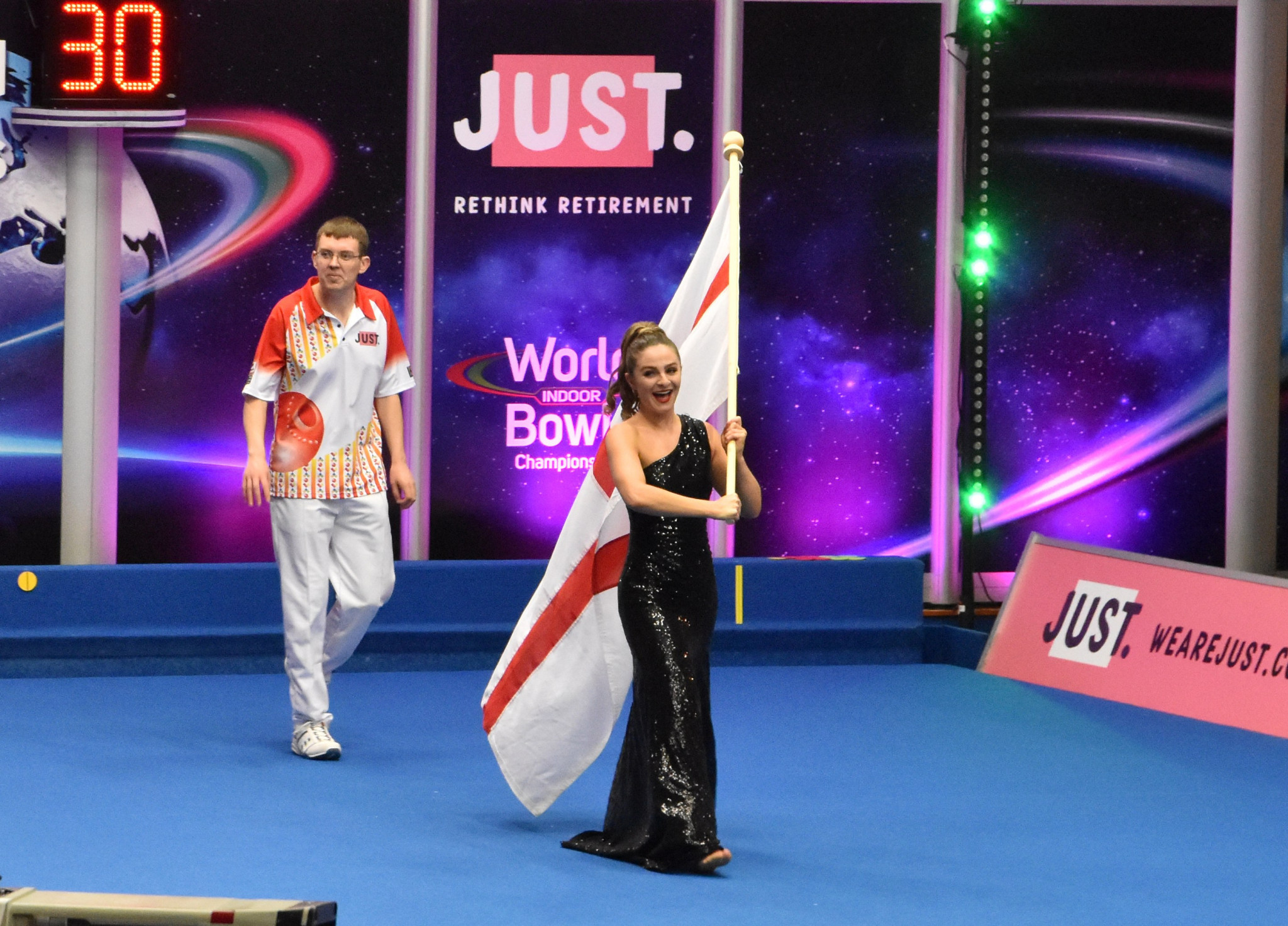 Mark Dawes triumphed in a World Indoor Bowls Championships final broadcast live on BBC television ©WorldBowlsTour