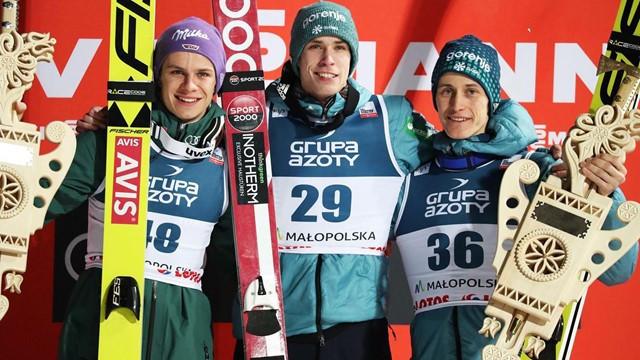 Slovenia's Anže Semenič enjoys an unexpected individual ski jump win at the World Cup event in Zakopane ©FIS