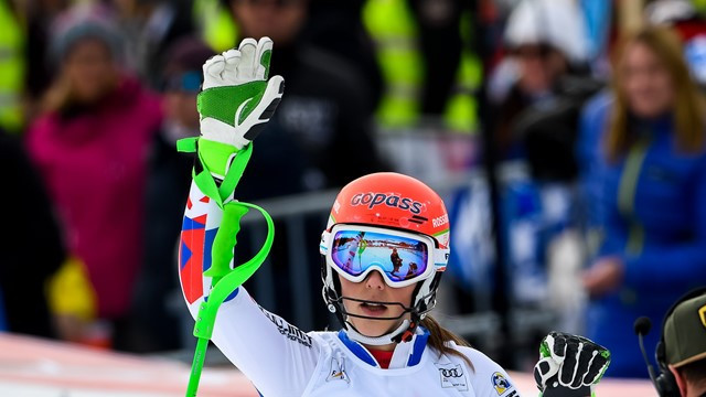 Slovakia's Petra Vlhova salutes an unexpected win at the World Cup slalom event in Lenzerheide ©FIS