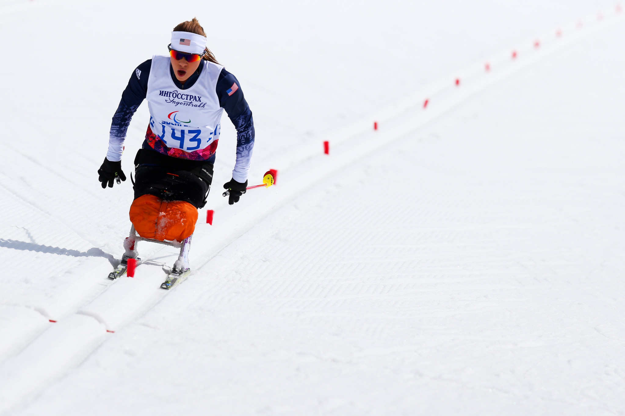 Oksana Masters of the United States bounced back from her disappointment yesterday by winning the sitting middle distance race ©Getty Images
