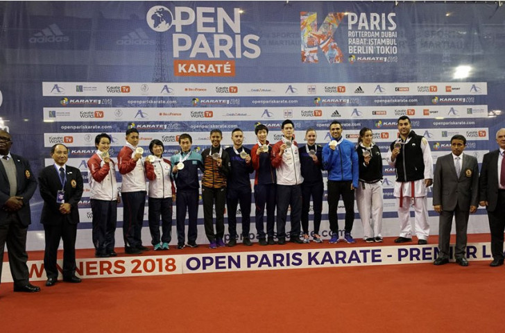The gold medallists line up after a hectic last day of finals in the Karate1 Premier League Paris Open ©WKF