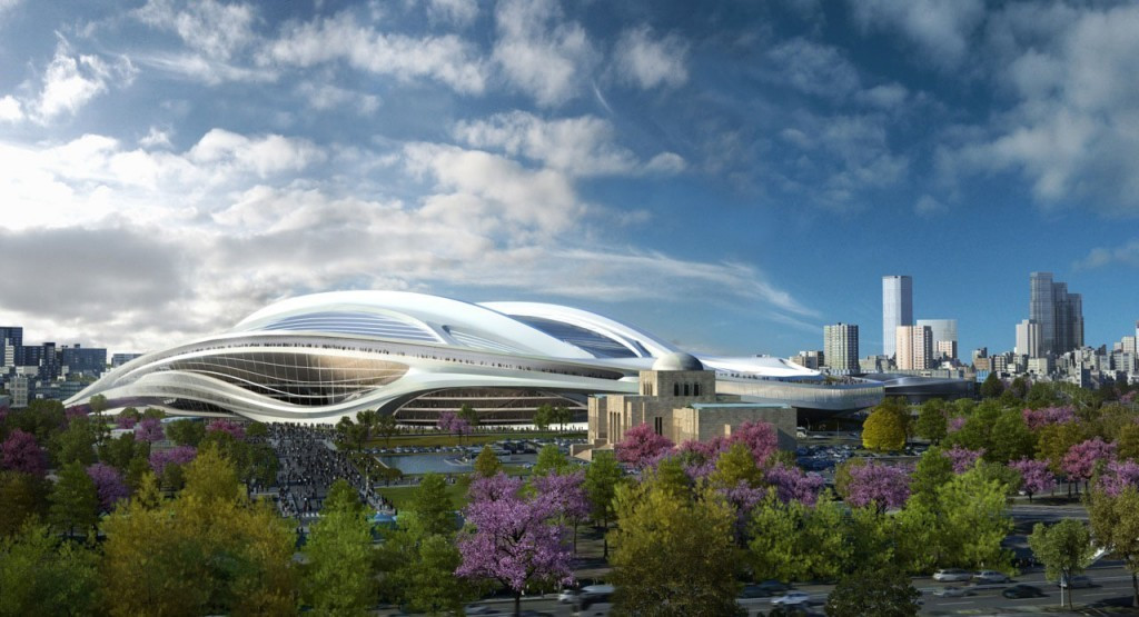 Initial designs for the Tokyo National Stadium, pictured here, are to be downscaled ©Getty Images