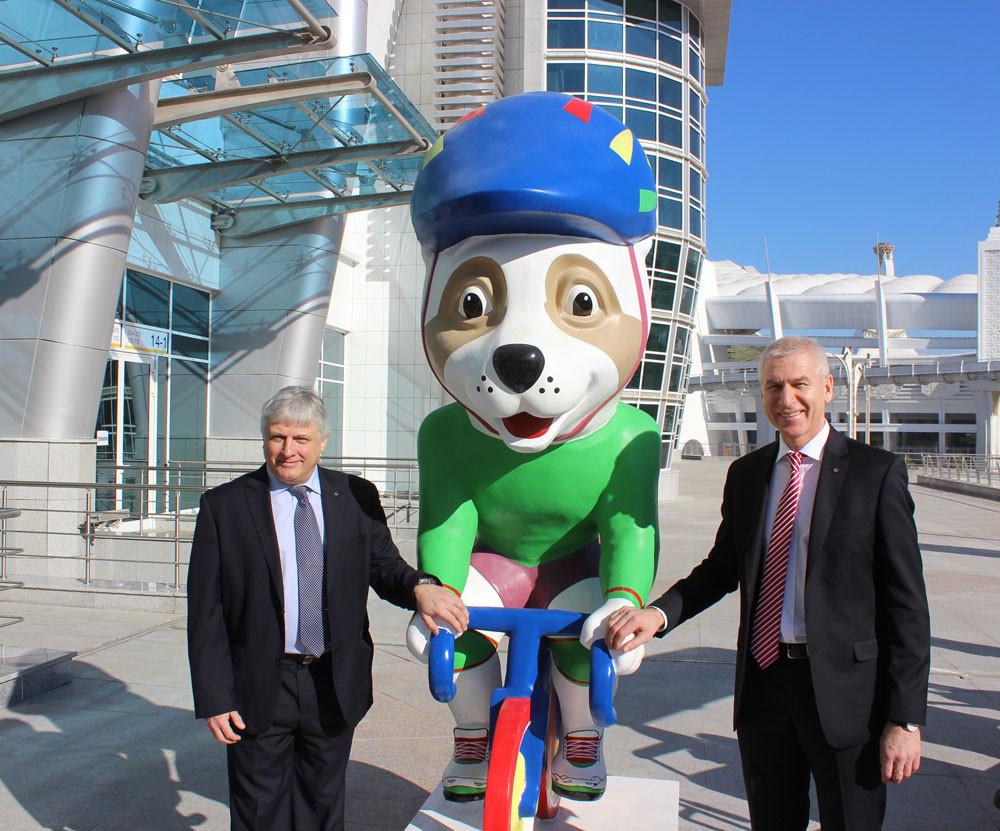 Oleg Matytsin, right, and Eric Saintrond visited Ashgabat ©FISU