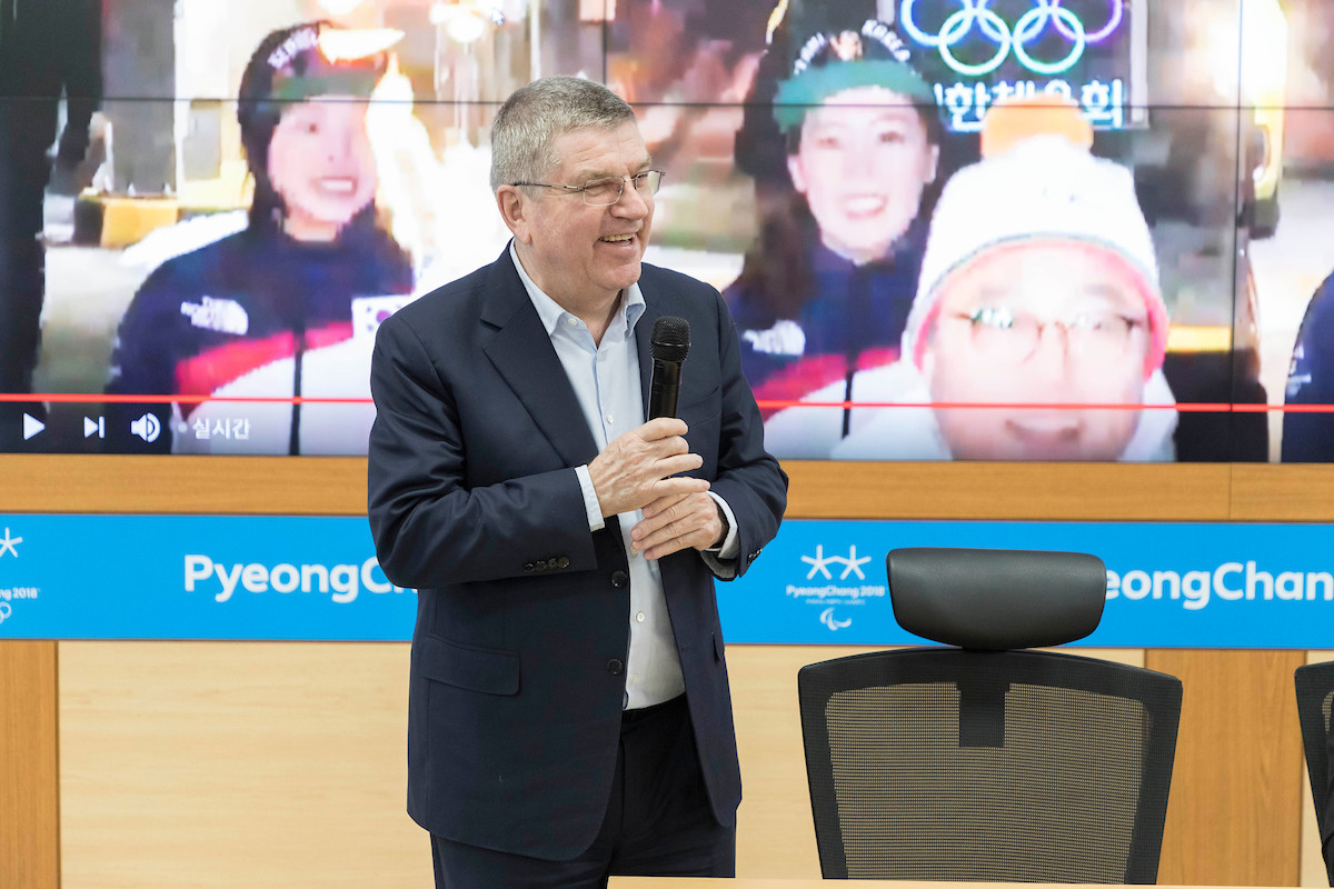 Bach hopes to attend first joint Korean ice hockey match of Pyeongchang 2018