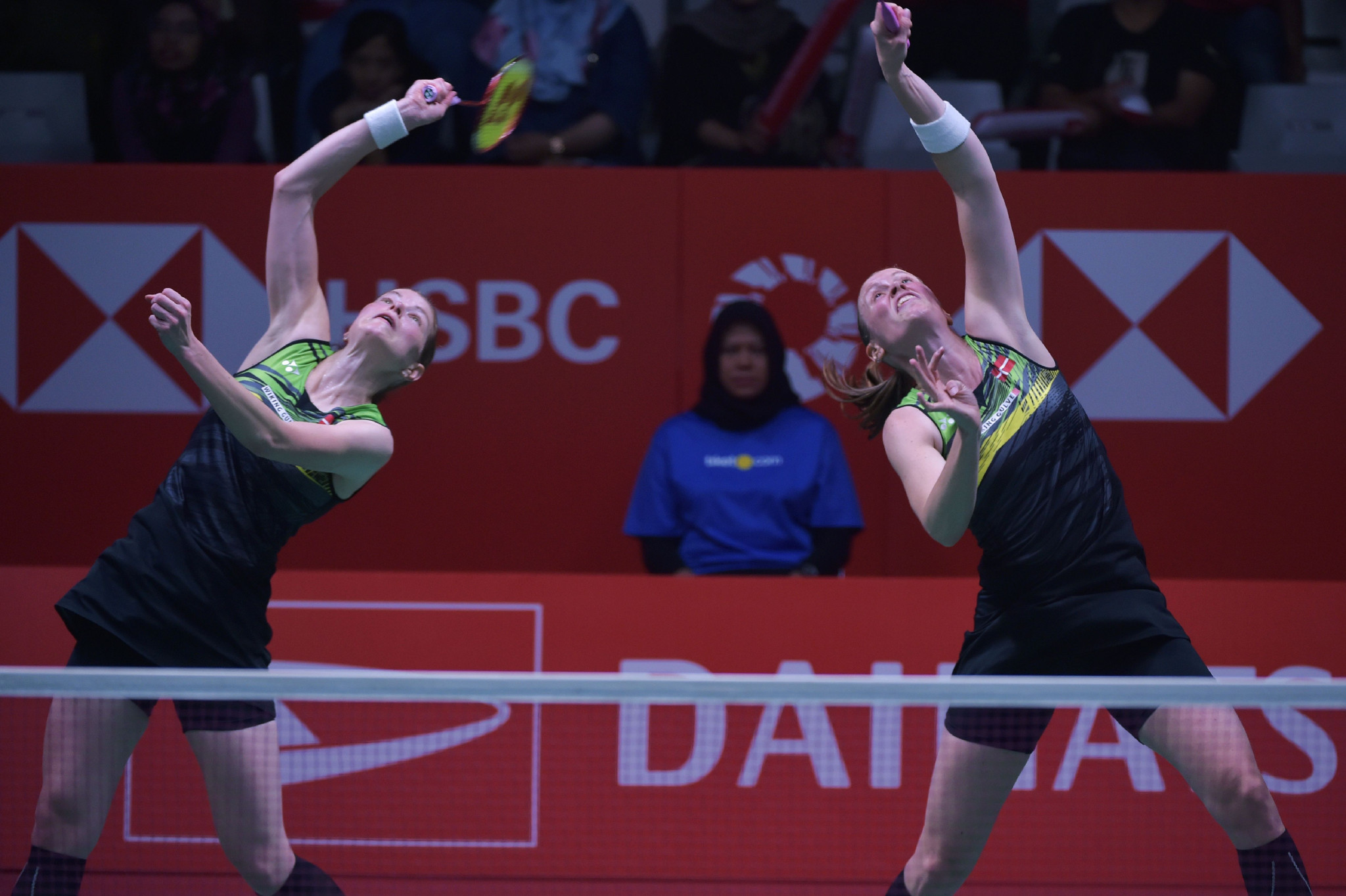 Denmark's Olympic silver medallists Kamilla Rytter Juhl, right, and Christinna Pedersen, left, won their opening match at the BWF India Open to live up to their favourites tag ©Getty Images