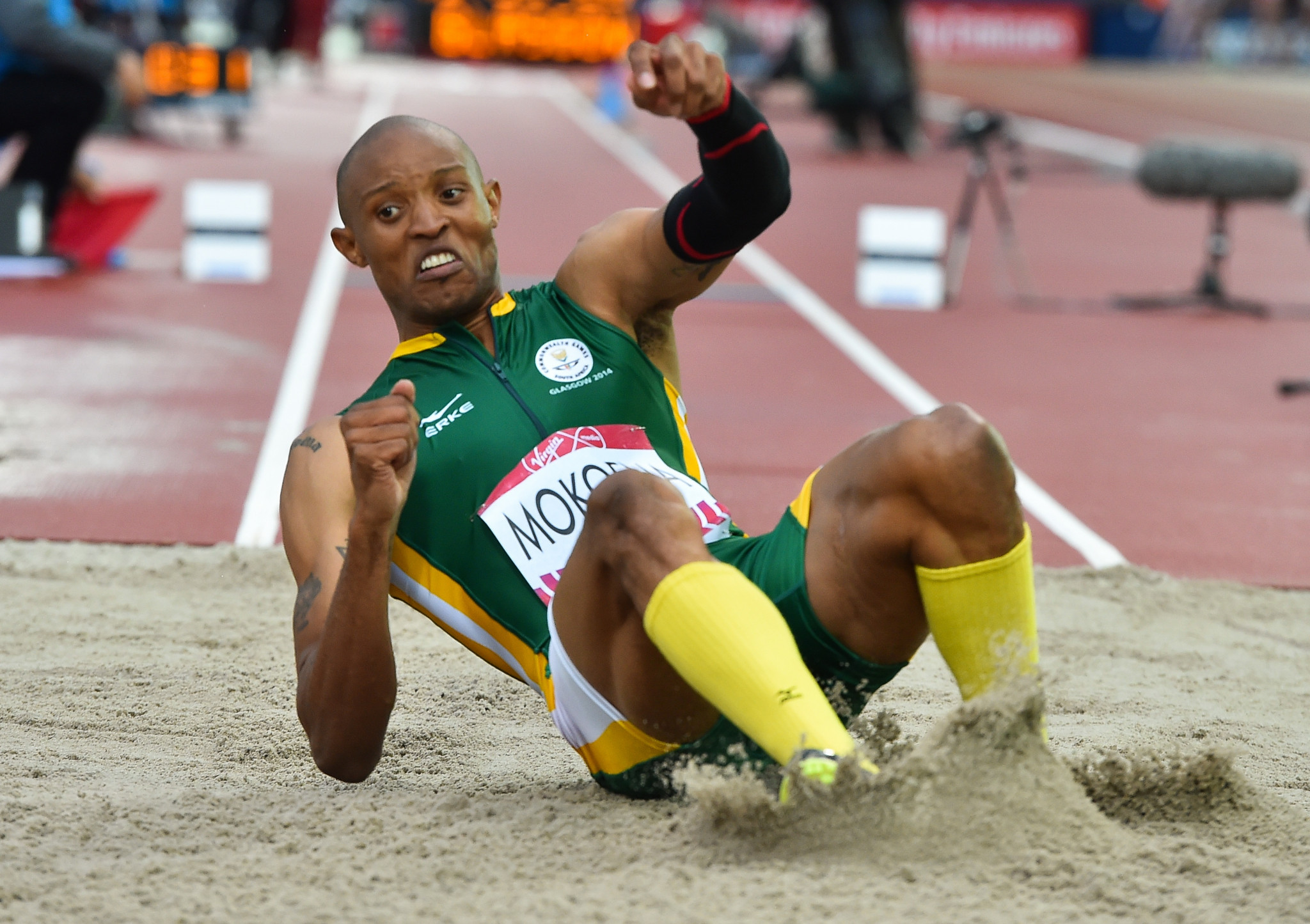 Khotso Mokoena, who won triple jump gold at the Glasgow 2014 Commonwealth Games, is among the athletes to have missed out on a place in South Africa's team for Gold Coast 2018 ©Getty Images