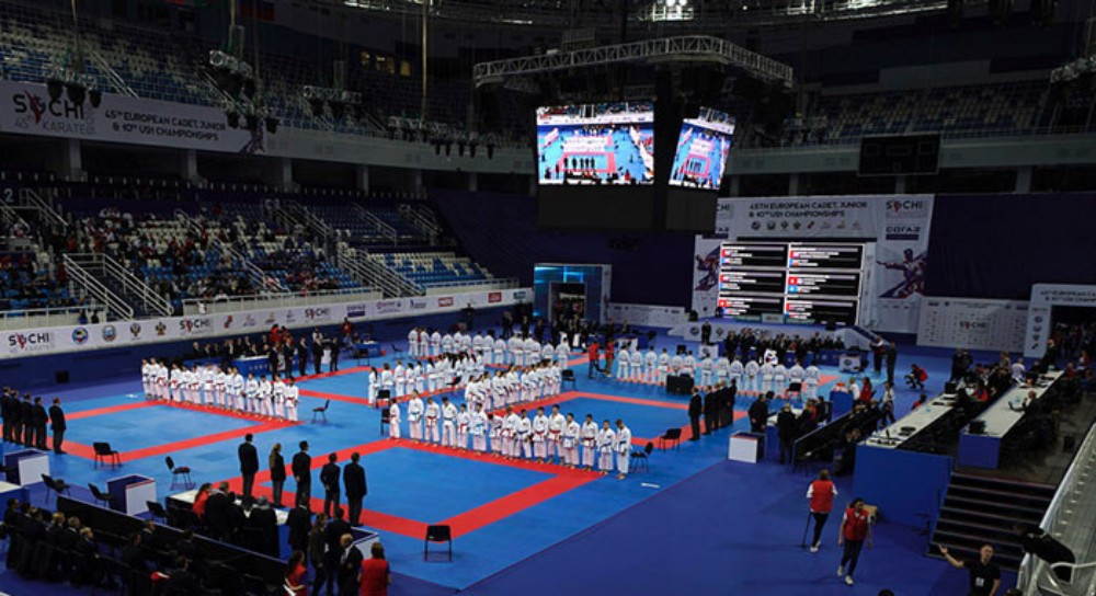 Hosts Russia claimed a hat-trick of gold medals ©WKF