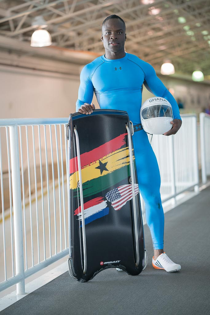 Akwasi Frimpong will be Ghana's first-ever Olympic skeleton racer when he competes in Pyeongchang ©GOC