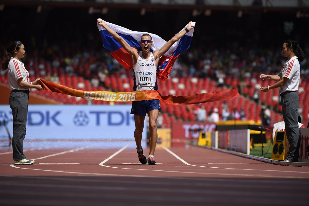 Matej Toth of Slovakia, pictured winning the men's 50km race walk title, will not compete at the next World Cup in Russia because of the doping abuses within walking in that country ©Getty Images
