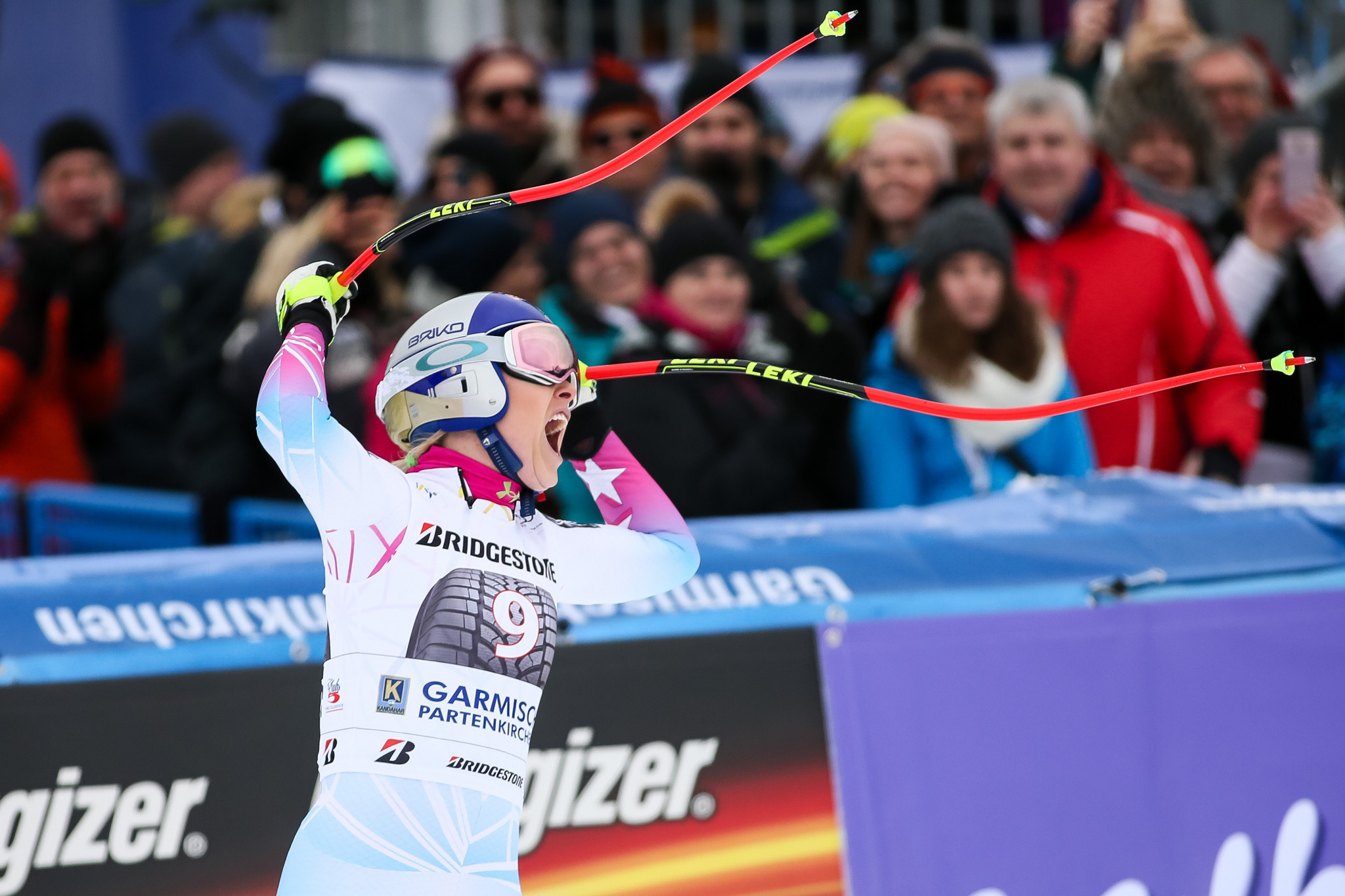 The United States' Lindsey Vonn claimed her 80th victory on the FIS Alpine Skiing World Cup tour after winning a shortened women's downhill event in Garmisch-Partenkirchen in Germany today ©Getty Images