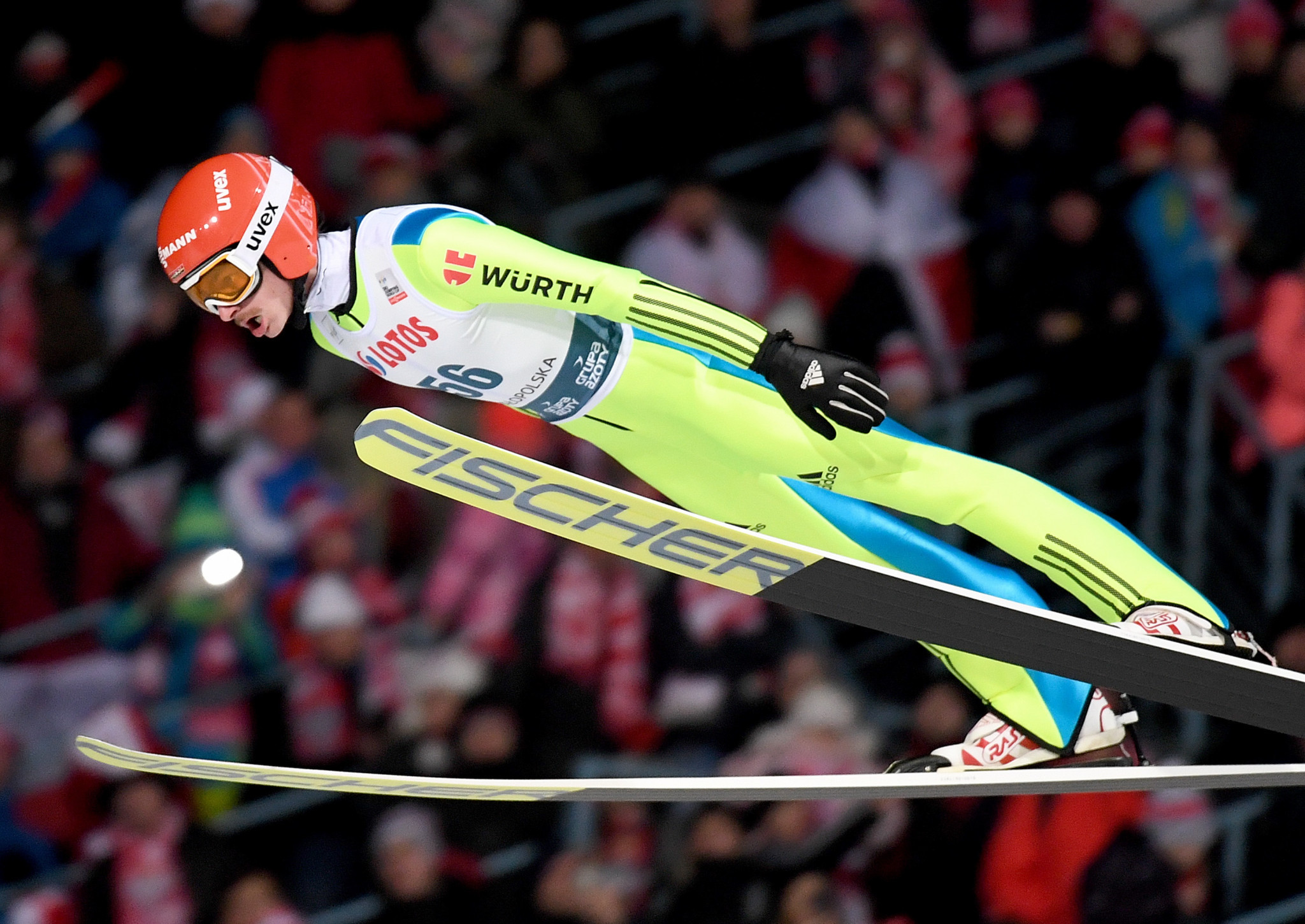 Germany's Richard Freitag remains the overall World Cup leader, despite finishing second today ©Getty Images