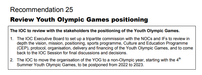 Moving the Summer Youth Olympic Games from 2022 to 2023 had been a recommendation in Agenda 2020 ©IOC
