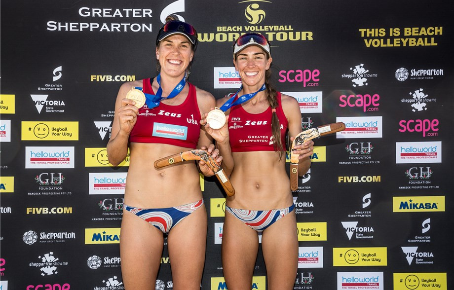 Amanda Dowdy, left, and Irene Pollock, right, ensured American pairings won titles in both the men's and women's tournaments at the FIVB Beach Volleyball World Tour in Shepparton ©FIVB