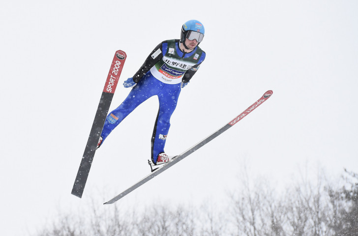 Norway's Jan Schmid en route to victory on the second day of competition in the FIS Nordic Combined World Cup in Hakuba, where he ended the winning run of local hero Akito Watabe ©Getty Images