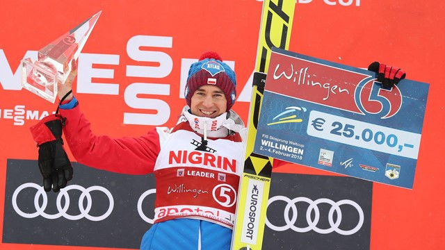 Kamil Stoch of Poland celebrates overall victory at the FIS Ski Jump World Cup in Willingen ©Getty Images