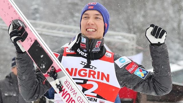 Norway's  Johann André Forfang earned his second FIS Ski Jump World Cup victory in Willingen today, but second place was enough to give Poland's double Olympic champion Kamil Stoch the overall title ©Getty Images