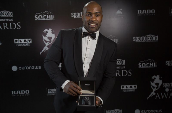 World judo champion Teddy Riner shared the Sport Hero Award with Italy's former Formula One driver Alex Zanardi, who won two Paralympic gold medals in cycling at London 2012