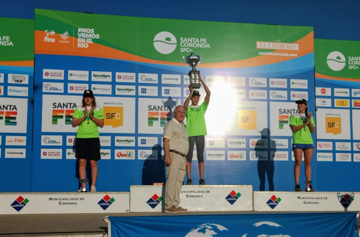 Home female Cecilia Biagioli produced the performance of the day in the first FINA UltraMarathon Swimming World Cup as she finished top woman and second overall behind Argentinian compatriot Guillermo Bertola ©FINA