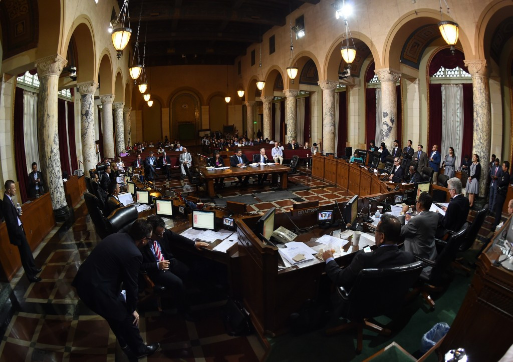 Members of the Los Angeles City Council's Ad Hoc Committee offered their support for the city's bid following a meeting ©AFP/Getty Images